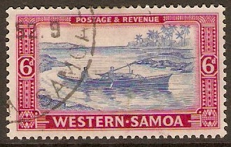 Samoa 1952 6d Pale ultramarine and rose-magenta. SG224.