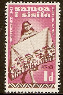 Samoa 1962 1d Brown and rose-carmine. SG239.