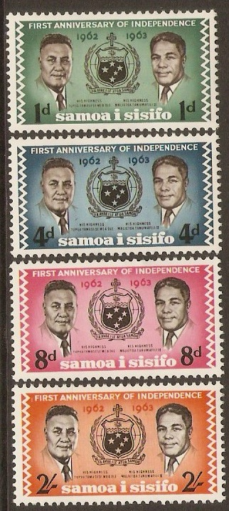 Samoa 1963 Independence Anniversary Stamps Set. SG249-SG252.