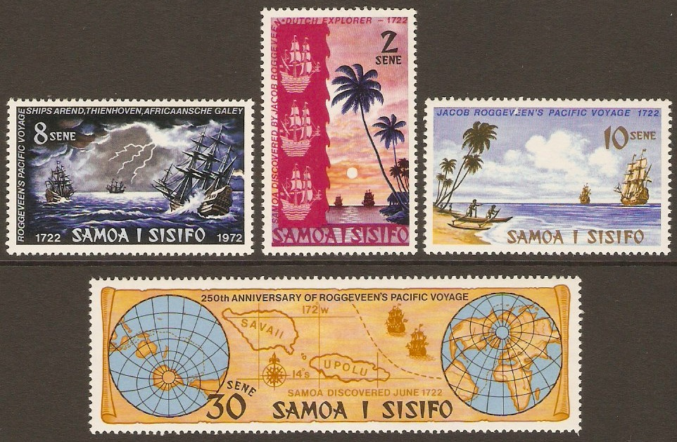 Samoa 1972 Discovery Anniversary Stamps Set. SG386-SG389.