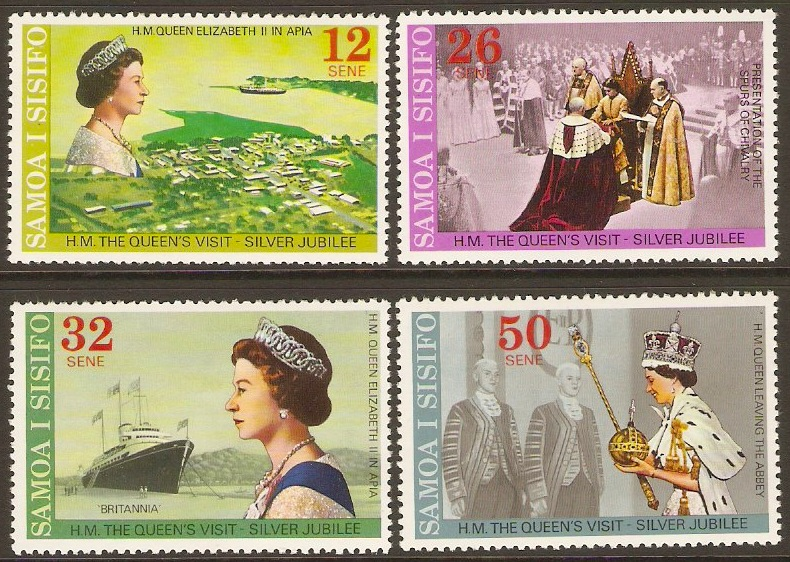 Samoa 1977 Jubilee and Royal Visit Stamps Set. SG479-SG482.