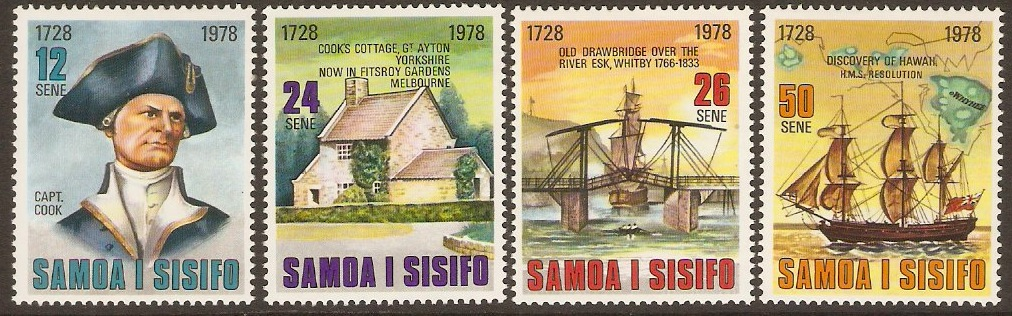 Samoa 1978 Cook Commemoration Stamps Sheet. SG512-SG515.