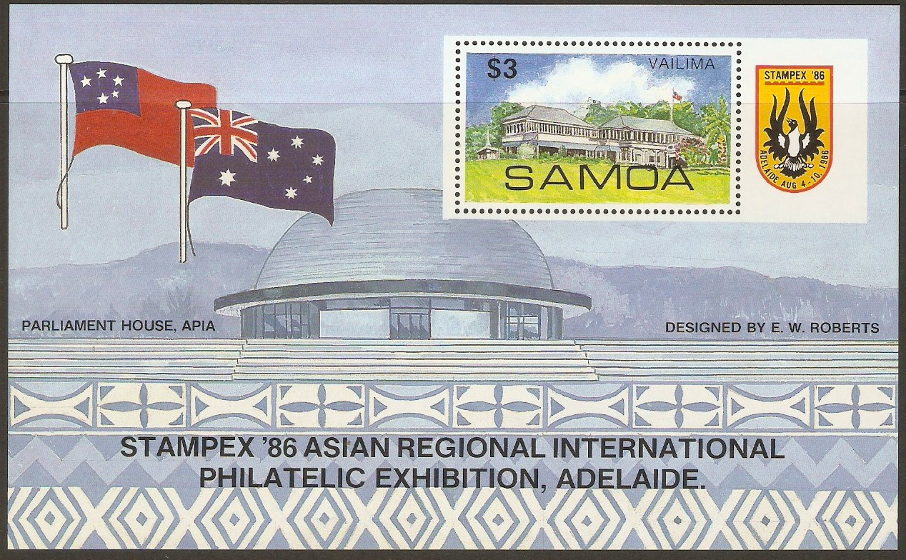 Samoa 1986 Stamp Exhibition Stamps Sheet. SGMS735.