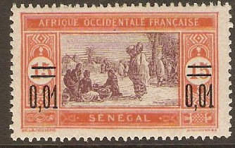 Senegal 1922 0,01 on 15c Purple and chestnut. SG102.