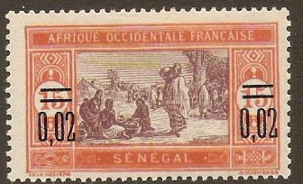 Senegal 1922 0,02 on 15c Purple and chestnut. SG103.