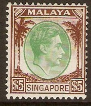 Singapore 1948 $5 Green and brown. SG15.