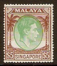 Singapore 1948 $5 Green and brown. SG30.