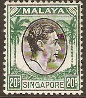 Singapore 1948 20c Black and green. SG9.