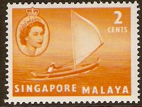 Singapore 1955 2c Yellow-orange. SG39.