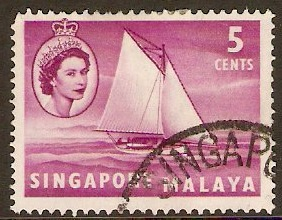 Singapore 1955 5c Bright purple. SG41.