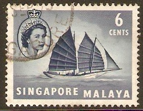 Singapore 1955 6c Deep grey-blue. SG42.