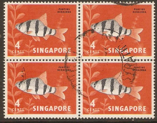 Singapore 1962 4c Orchids, Fish and Bird Series. SG65.