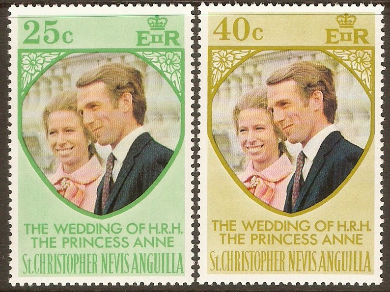 St. Kitts-Nevis 1973 Royal Wedding Set. SG290-SG291.