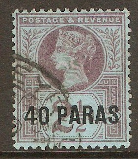 British Levant 1887 40pa on 2½d Purple on blue. SG4.