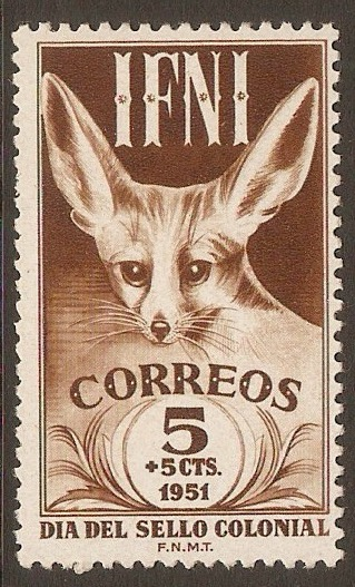 Ifni 1951 5c +5c Brown - Fennec Fox series. SG74.