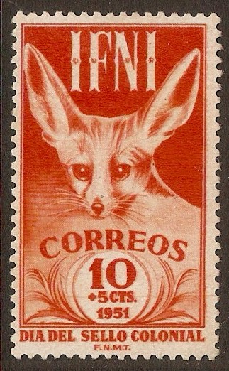 Ifni 1951 10c +5c Red-orange - Fennec Fox series. SG75.