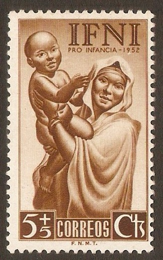 Ifni 1952 5c +5c Brown - Child Welfare series. SG77.