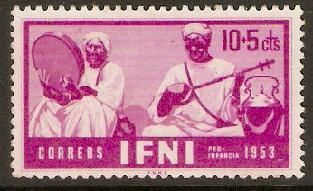 Ifni 1953 10c +5c Bright purple - Musicians series. SG94.