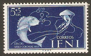 Ifni 1953 5c +5c Deep bright blue - Fish and Jellyfish. SG97.