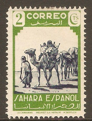 Spanish Sahara 1943 2c Indigo and green. SG62.
