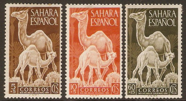 Spanish Sahara 1951 Colonial Stamp Day set. SG88-SG90.