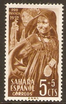 Spanish Sahara 1952 5c +5c Brown - Child Welfare series. SG91.