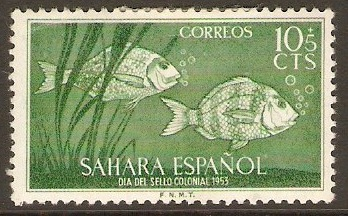 Spanish Sahara 1953 10c +5c Green. SG106.
