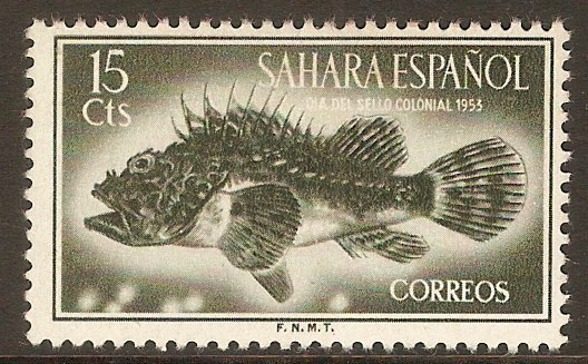 Spanish Sahara 1953 15c Bronze-green. SG107.