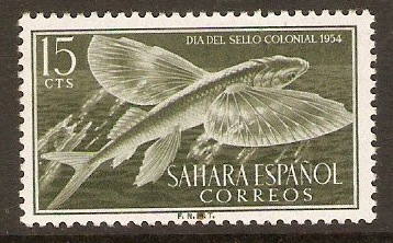 Spanish Sahara 1954 15c Bronze-grn - Colonial Stamp Day. SG115.
