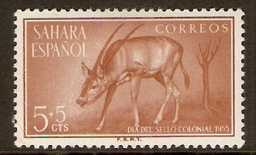 Spanish Sahara 1955 5c +5c Brown - Colonial Stamp Day. SG120.