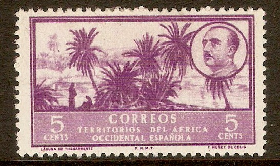 Spanish West Africa 1950 5c Reddish violet. SG4.
