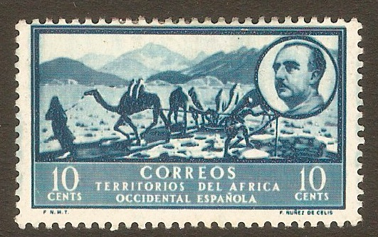 Spanish West Africa 1950 10c Turquoise-blue. SG5.
