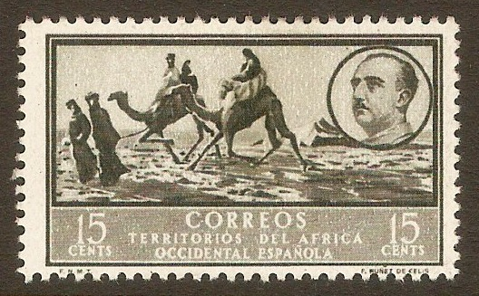 Spanish West Africa 1950 15c Olive-black. SG6.