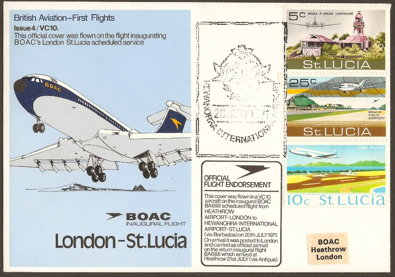 St Lucia 1971 BOAC First Flight Cover.
