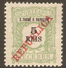 St.Thomas and Prince 1911 5r Yellow-green - Postage Due. SGD137.