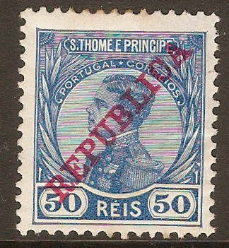 St.Thomas and Prince 1912 50r Blue. SG142.