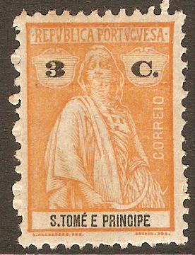 St.Thomas and Prince 1920 3c Orange. SG287.