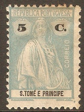 St.Thomas and Prince 1920 5c Pale dull blue. SG290.