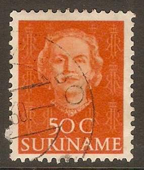Surinam 1951 50c Red-orange. SG403.