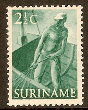 Surinam 1953 2½c Deep blue-green. SG408.
