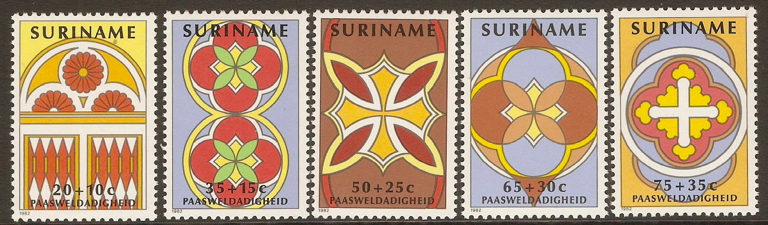 Surinam 1982 Easter Stained Glass set. SG1072-SG1076.