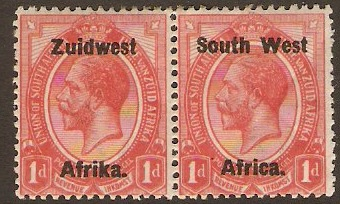 South West Africa 1923 1d Rose-red. SG17.
