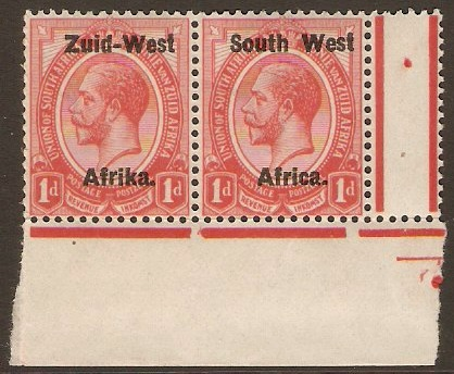 South West Africa 1923 1d Rose-red. SG2.