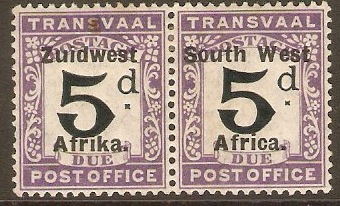 South West Africa 1923 5d Black and violet Postage Due. SGD25.