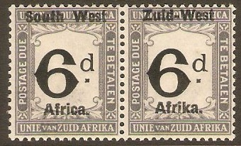 South West Africa 1923 6d Black and slate Postage Due. SGD5.