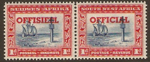 South West Africa 1931 1d Indigo and scar. Official Stmp. SGO14.