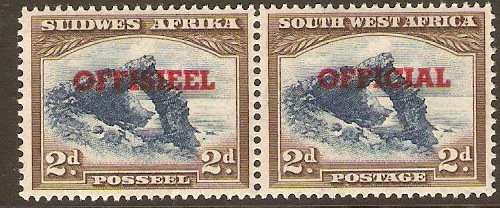 South West Africa 1931 2d Blue and brown Official Stamp. SGO15.
