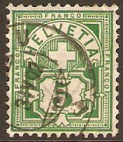 Switzerland 1882 5c deep green. SG129B.