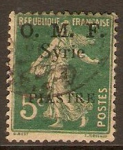 French Military Occ. 1920 1p on 5c Blue-green. SG35.