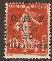 French Military Occ. 1921 50c on 10c Scarlet. SG70.